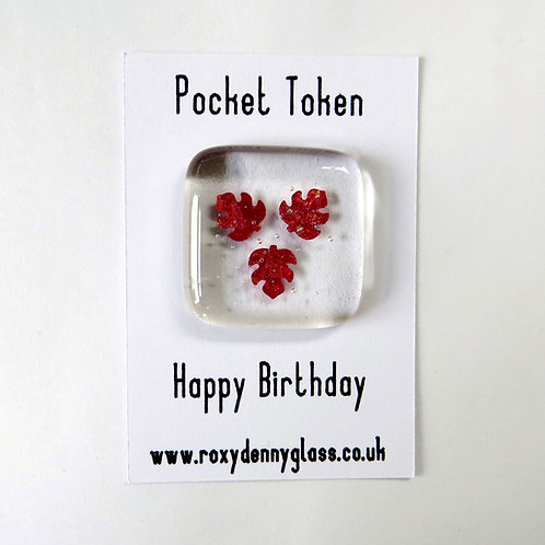 Leaves fused glass pocket token, happy birthday