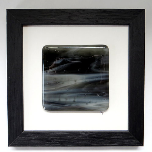 Black and white framed fused glass wall art