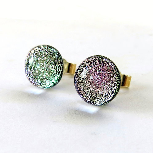 Silvery pink dichroic glass stud earrings
