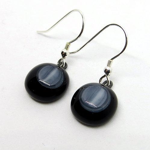 White Noir fused glass earrings
