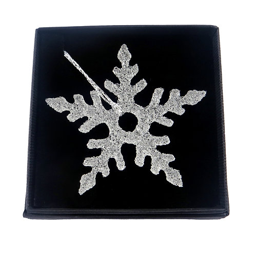 Clear icy handmade fused glass snowflake