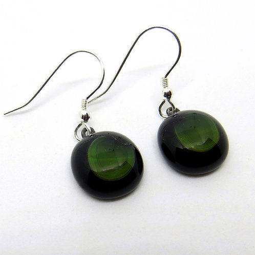 Black and green fused glass and sterling silver earrings
