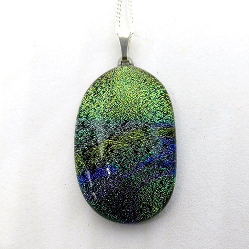 Green multicoloured dichroic glass necklace
