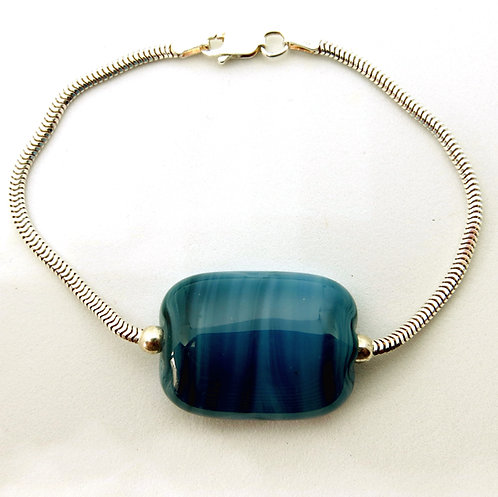 Blue fused glass and sterling silver bracelet