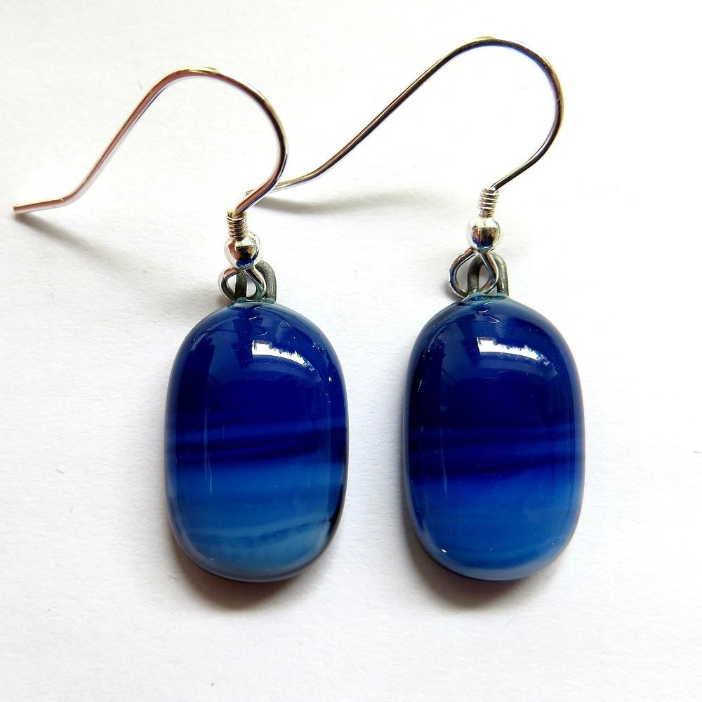 Fluid fused glass earrings