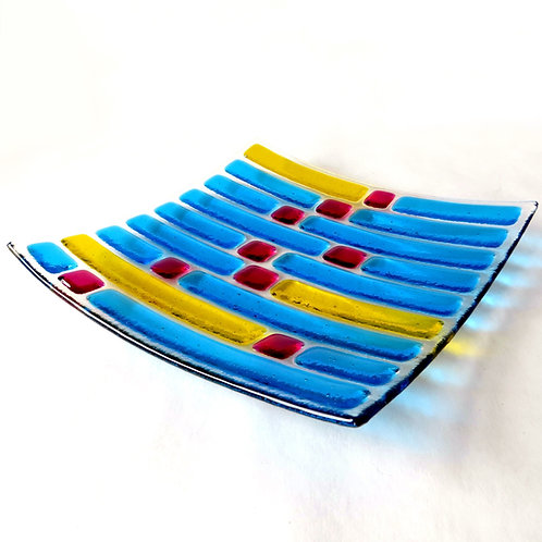 Blue and yellow abstract fused glass bowl