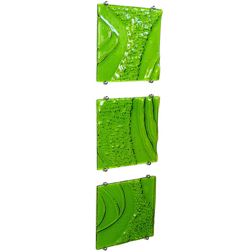 Green textured fused glass wall art