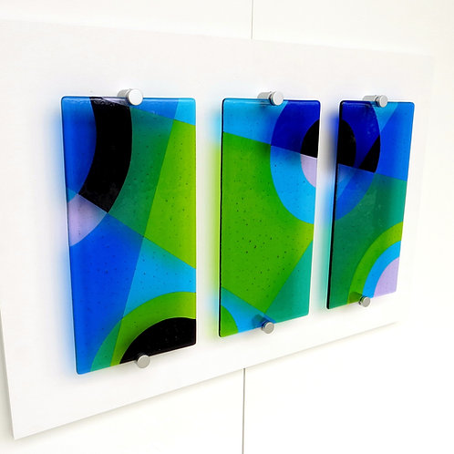 Green and blue geometric wall art