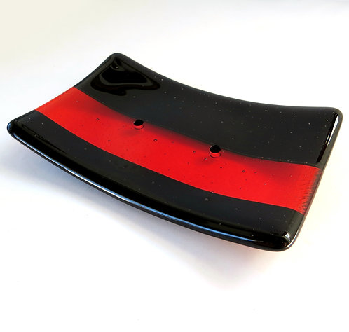 Black and orange striped fused glass soap dish