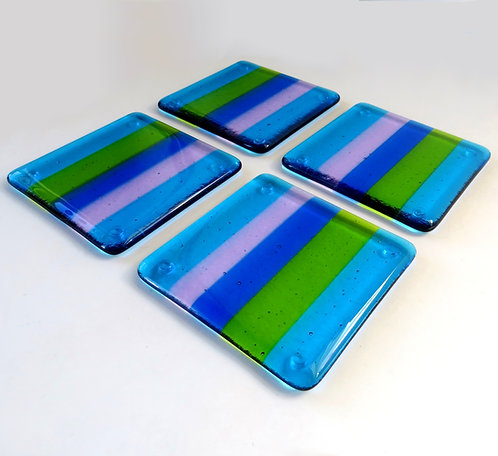 Blue, green and purple striped fused glass coasters