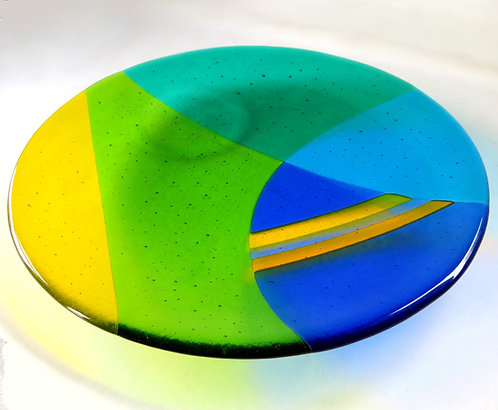 Blue and green abstract fused glass bowl