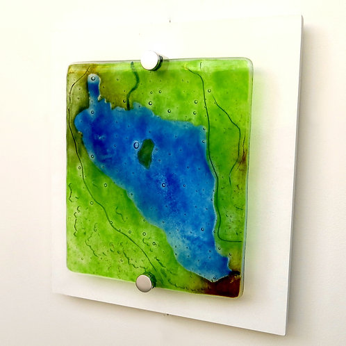 Lake Grasmere inspired fused glass wall art
