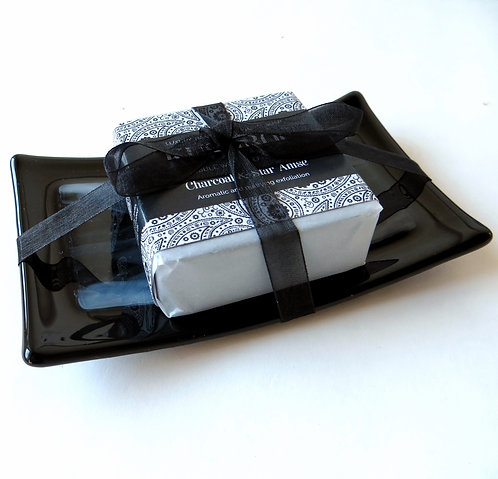 Black and white fused glass soap dish gift set
