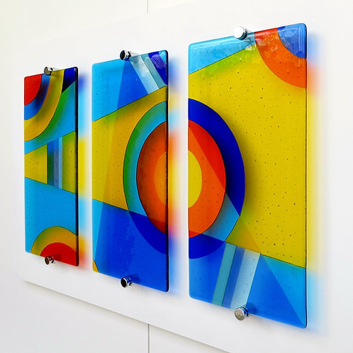 Blue and yellow geometric fused glass wall art