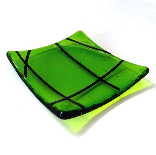 Green lined fused glass ring dish