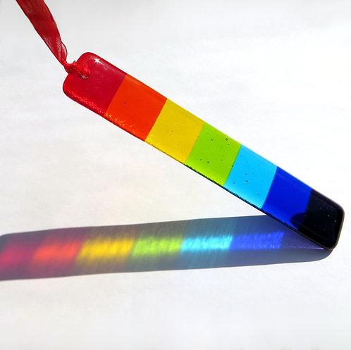 Handmade rainbow fused glass hanging