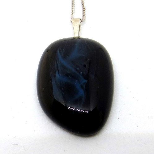Blue Noir fused glass necklace