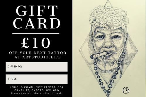 £10 Tattoo Gift Card