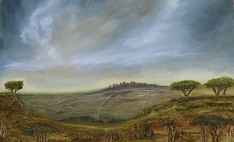 African Fantasy Landscape - Oil on Canva