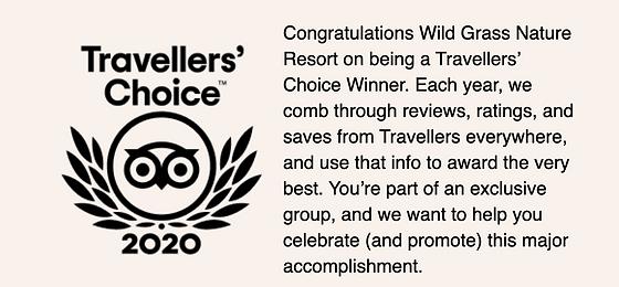 Trip Advisor Travellers' Choice award for 2020