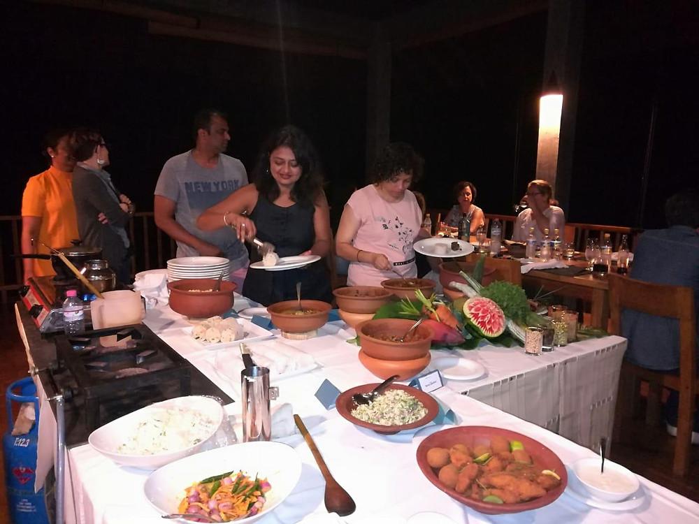 Buffet setup for dinner