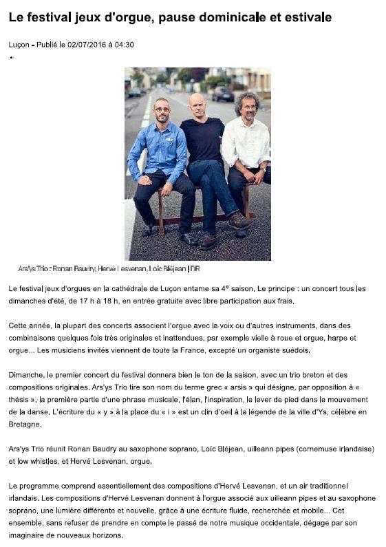 Harvé Lesvenan Ars'Ys Ouest France