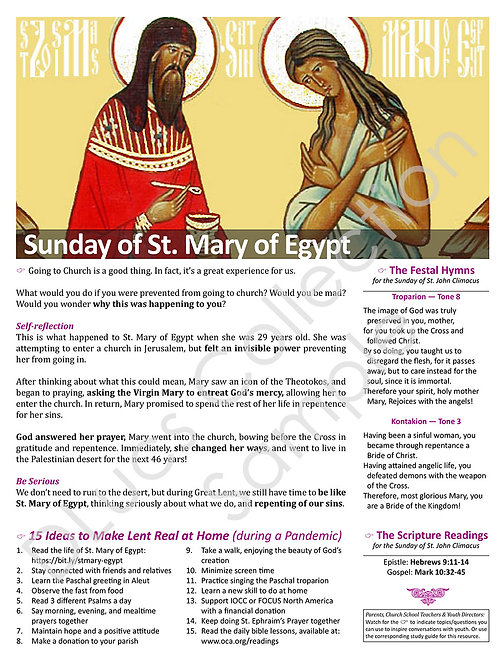 5th Sunday of Lent: St. Mary of Egypt