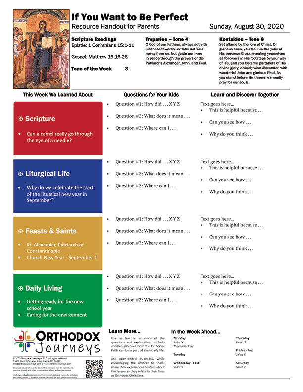 Parents Weekly Handout