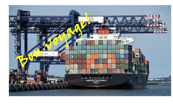 Vykort med bild på kinesiskt fraktfartyg