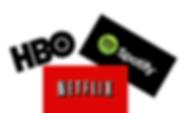 Loggorna för HBO, netflix och Spotify