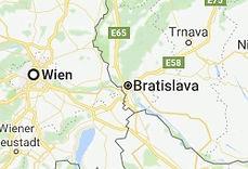 Karta som visar Wien och Bratislava