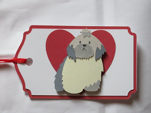Lhasa Apso in Front of Large Red Heart Gift Tag