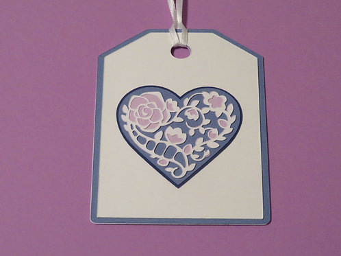 Ornate Lace-like Heart in Blues and Lavender Gift Tag