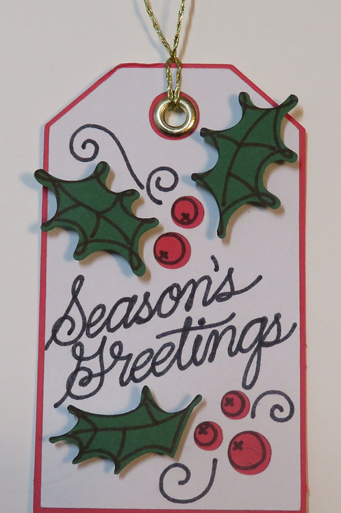 Season's Greetings Holly Berries and Leaves Gift Tag