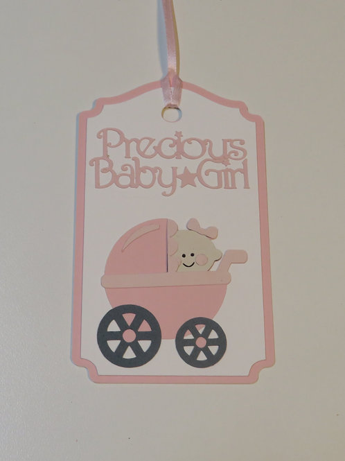 Precious Baby Girl in Pink Stroller Gift Tag