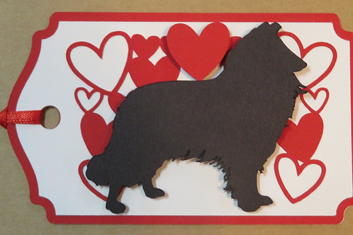 Collie/Sheltie Silhouette Under a Canopy of Hearts