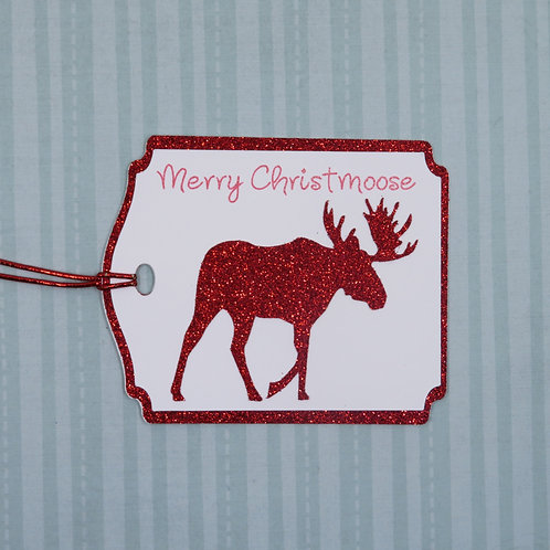 Merry Christmoose Red Glitter Moose Gift Tag