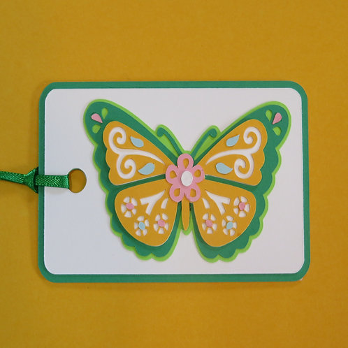Golden Yellow and Green Butterfly Gift Tag