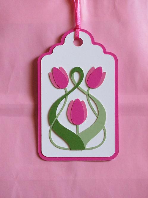 Art Nouveau Tulip Flower Trio Gift Tag