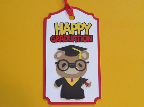 Happy Graduation Bear in Cap and Gown with Diploma Gift Tag