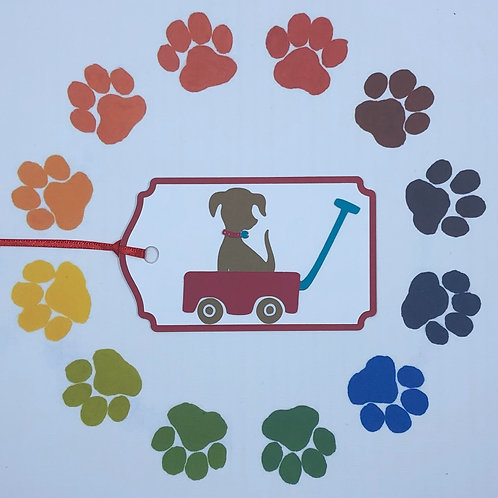 Little Brown Dog in Red Wagon Gift Tag