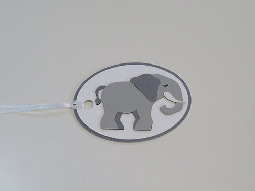Sleepy Eyed Elephant Oval Gift Tag