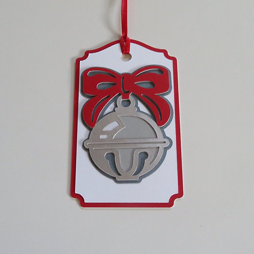 Large Silver Bell with Red Bow Gift Tag