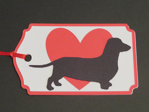 Dachshund Doxie Silhouette on Large Red Heart Gift Tag