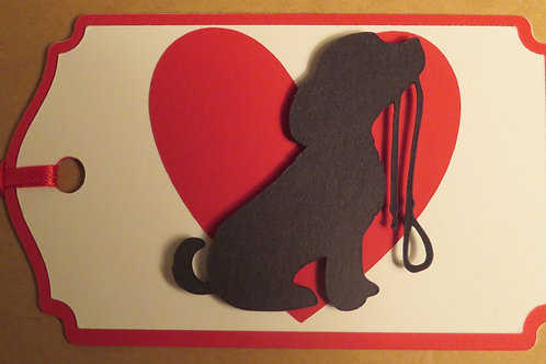 Puppy with Leash Silhouette in Front of Large Red Heart