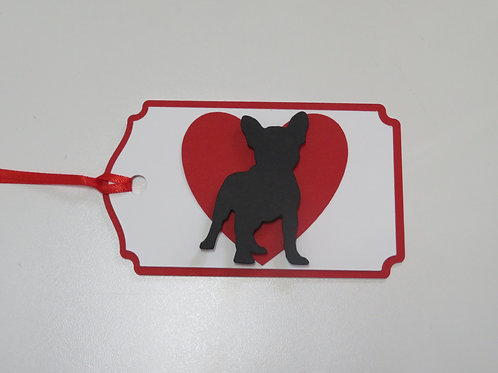 French Bulldog Silhouette in Front of a Large Red Heart