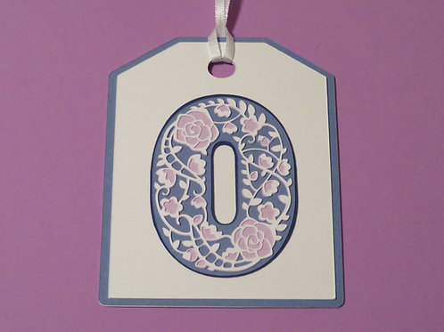 Ornate Lace-like Number 0 Zero Monogram in Blues and Lavender Gift Tag