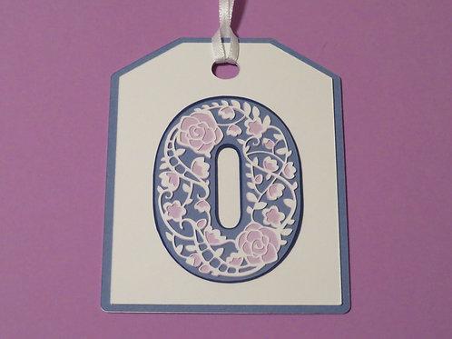 "Ornate Lace-like Number ""0"" Zero Monogram Gift Tag"