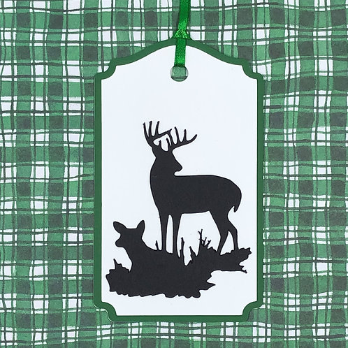 Buck and Doe Deer Scene Silhouette Gift Tag