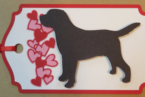 Retriever Silhouette Next to Waterfall of Hearts Gift Tag